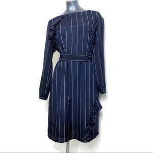 Banana Republic Navy Pin Stripe Ruffle Dress